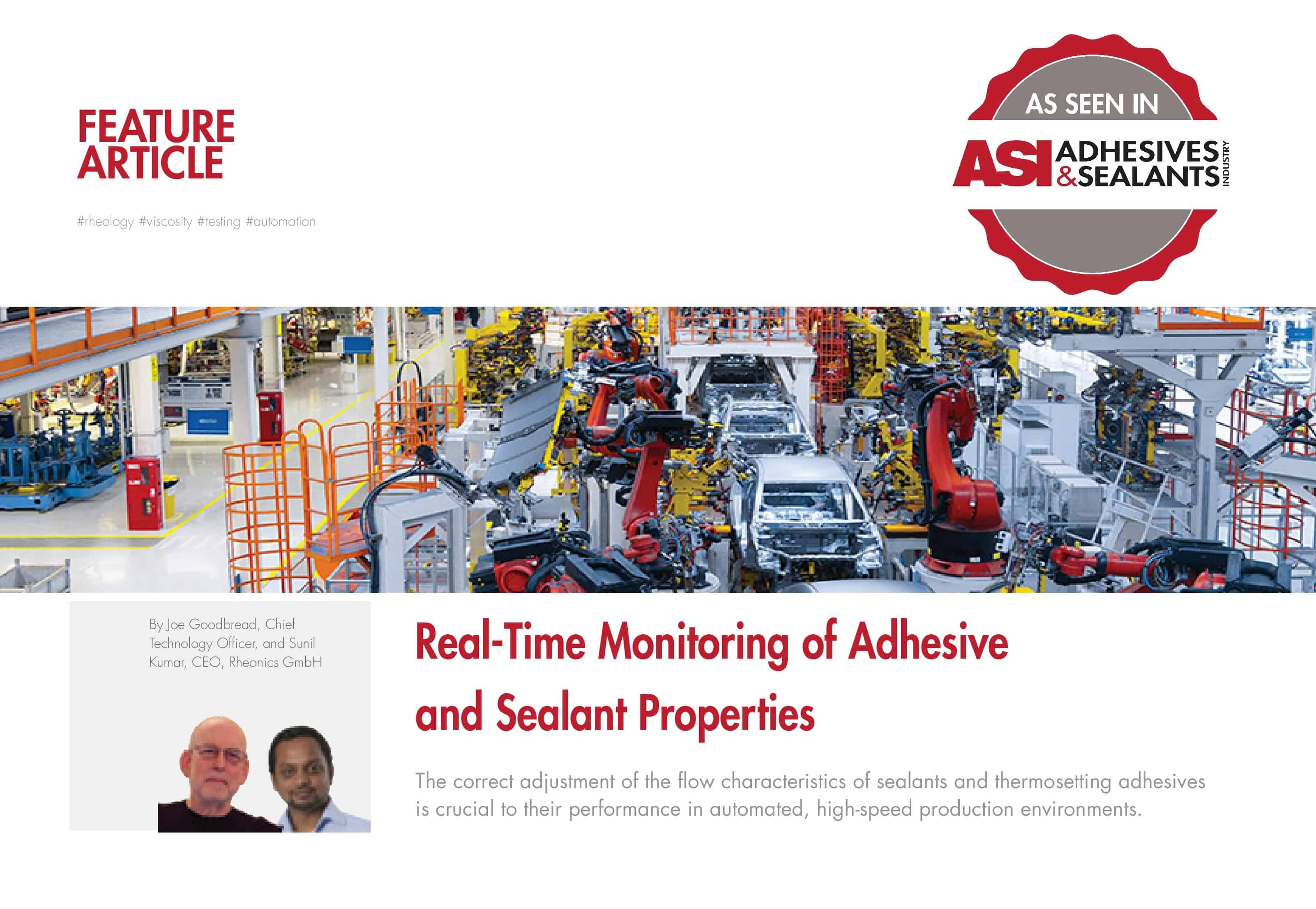 ASI Magazine features Rheonics' inline viscometer and CureTrack technology for real-time monitoring of adhesives and sealant properties
