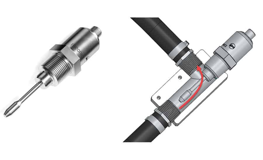 Figure 1. Inline viscometer (left) and installed in a flowline adapter for inline applications.Figure 1. Inline viscometer (left) and installed in a flowline adapter for inline applications.Figure 1. Inline viscometer (left) and installed in a flowline adapter for inline applications