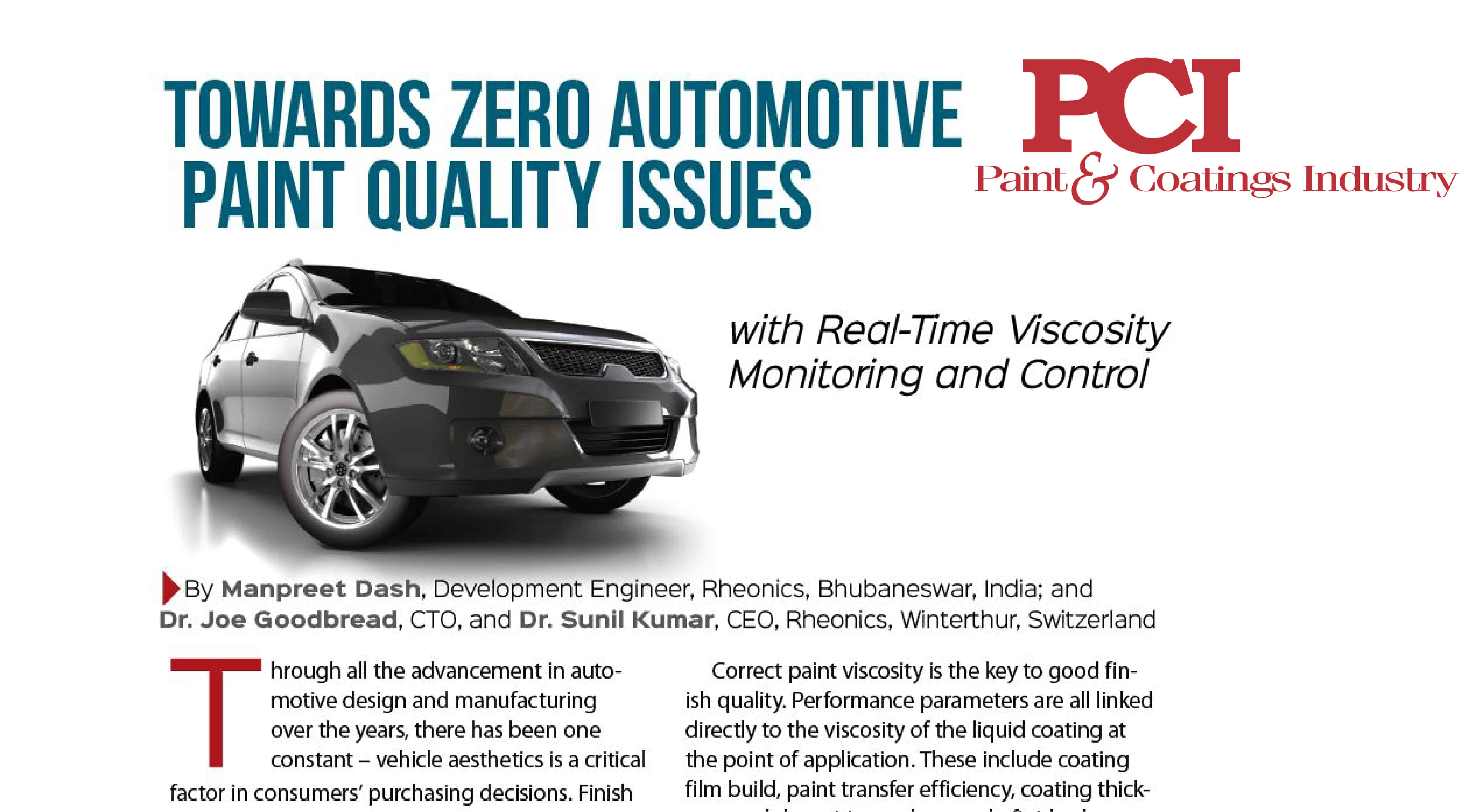 "PCI (Paint & Coatings Industry) Magazine features Rheonics' SRV and PaintTrack system – ""Towards Zero Automotive Paint Quality Issues"""